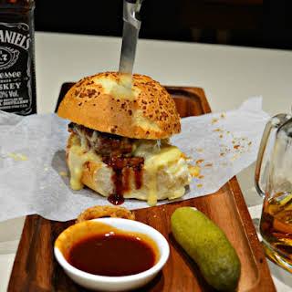 Jack Daniel Burgers with Smoky Cheese Sauce.