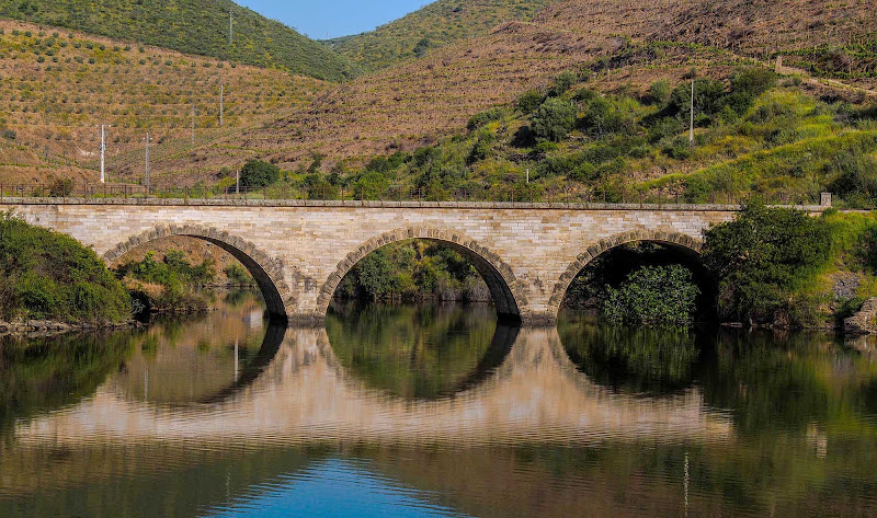 A Douro River bridge near terraced hillsides in Portugal.