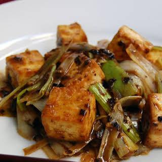 Roasted Tofu with Leeks and Black Bean Sauce.