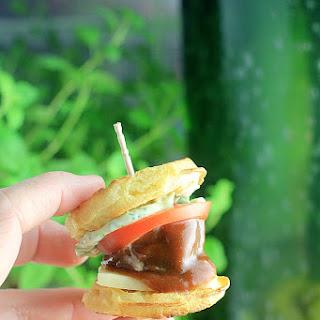 Barbecue Meatball Waffle Sliders.