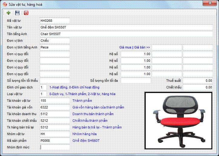 Danh mục vật tư hàng hóa phần mềm kế toán 3tsoft