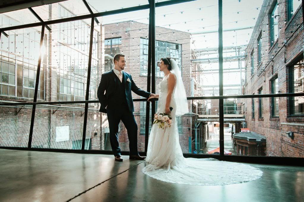Bride and Groom in Bridge Gallery