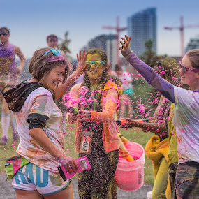 Colour Me Rad 5k run by David Kotsibie - People Street & Candids ( colour, splash, colorful, 5k, calgary, pink, run, colormerad, race,  )
