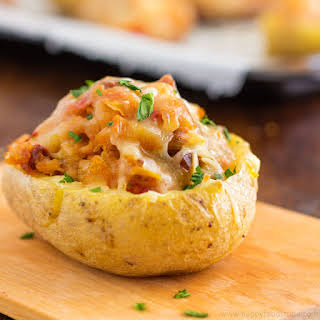 Twice Baked Potatoes with Chorizo and Cheddar.
