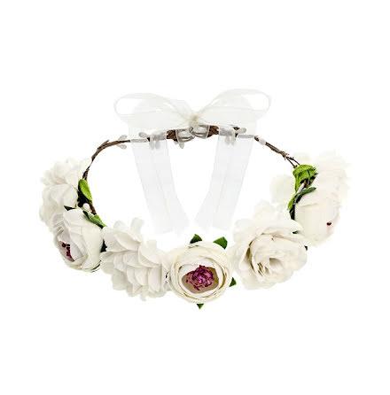 Hårkrans - Blomster, vit