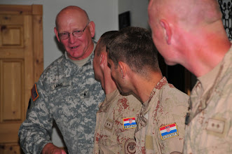 Photo: Minnesota Army National Guard Brig. Gen. Jerry Lang, assistant adjutant general of the Minnesota National Guard, visit with Croatian soldiers July 14 during a dinner for Pjer ŠIMUNOVIĆ, State Secretary in the Ministry of Defense of the Republic of Croatia.  The Croatian soldiers are taking part in the Department of Defense's Partners for Peace program with 2nd Battalion, 136th Combined Arms Battalion at Camp Ripley, Minn.(Camp Ripley photo by 1st Lt. Kenneth R. Toole)(Released)