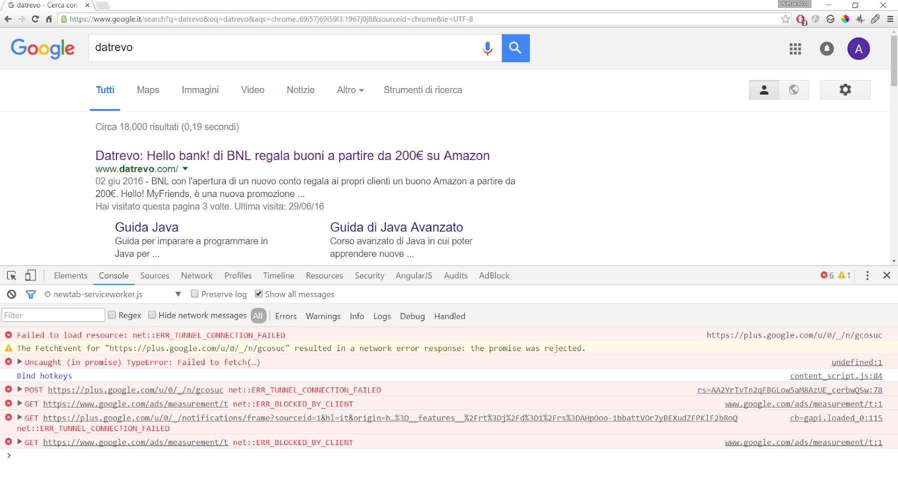 Google Developer Tools - Console