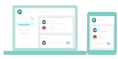 Interfaz de Google Chat en dispositivos