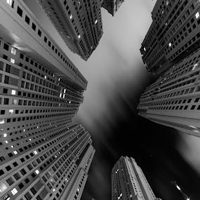 Dubai Marina by Péter Mocsonoky - Buildings & Architecture Homes ( clouds, building, architecture, city, urban, skyscraper, dubai, dark, night, marina, high, united arab emirates, black, tall )