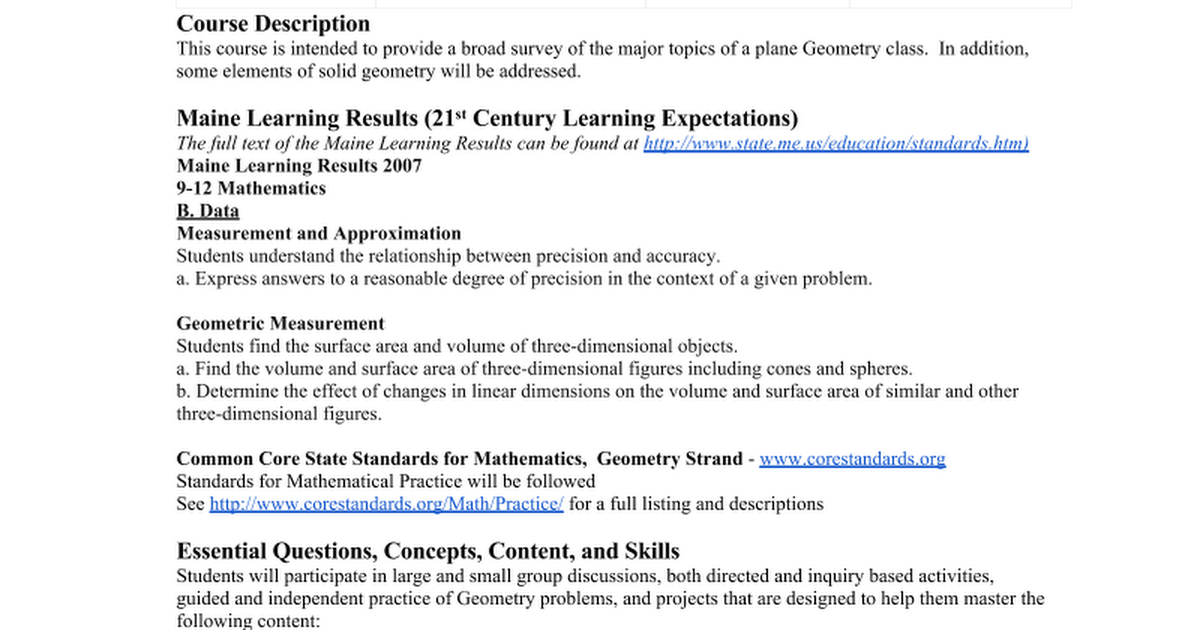 Geometry Syllabus 2014-15 - Google Docs