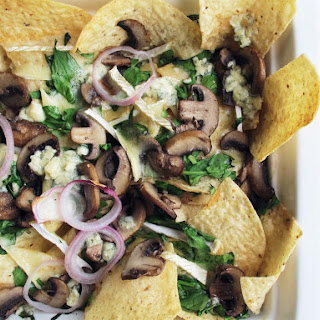 Blue Cheese and Brie Nachos With Mushrooms and Spinach.