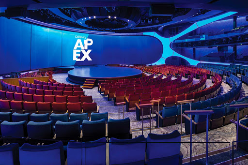 The Theatre on your Celebrity Edge class ship features a contemporary space designed to blur the line between audience and performance.