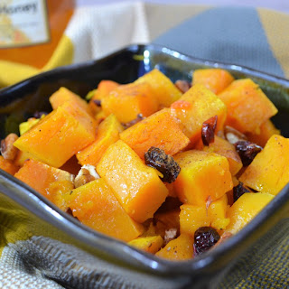 Sweet Roasted Butternut Squash with Dried Cranberries and Pecans.