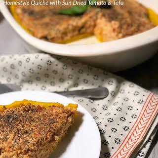 Homestyle Quiche with Sun Dried Tomato & Tofu.