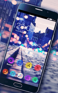 Stylish Romantic Theme: Neon Night Street Launcher APK screenshot thumbnail 3