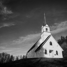 Little White Church on the Hill  by Todd Reynolds - Black & White Buildings & Architecture