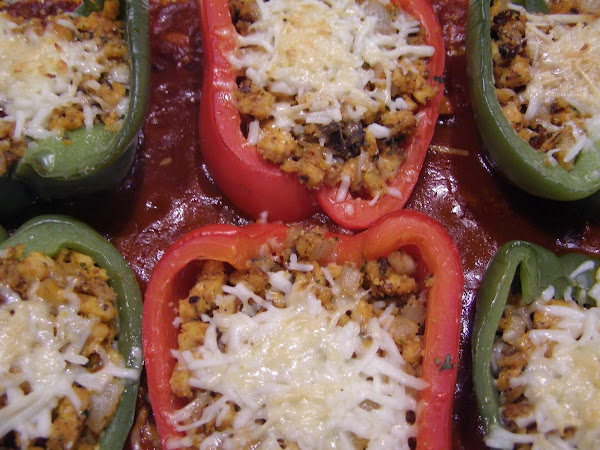 Saucy Veggie Holiday Stuffed Peppers Recipe