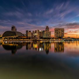 by Gordon Koh - City,  Street & Park  Skylines ( singapore, singapore river, sunrise, reflection, city, asia, skyline, singapore flyer, sony ar7ii )