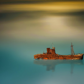old ship by Babis Mavrommatis - Digital Art Things ( blue sky, blue, color, beauty, ship )