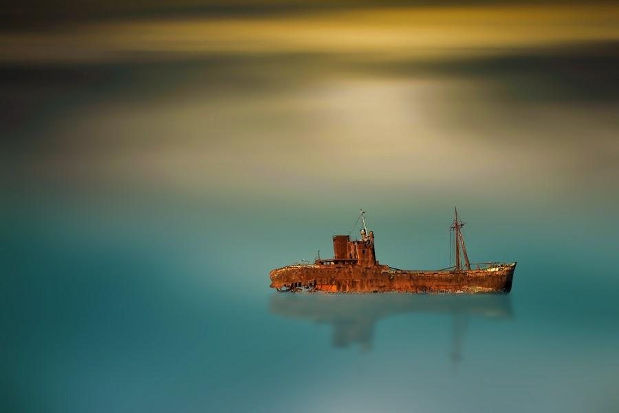 old ship by Babis Mavrommatis - Digital Art Things ( blue sky, blue, color, beauty, ship )