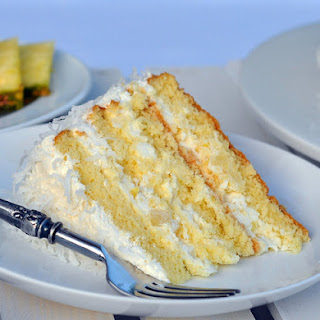 Pineapple Coconut Cake with Whipped Cream Icing.