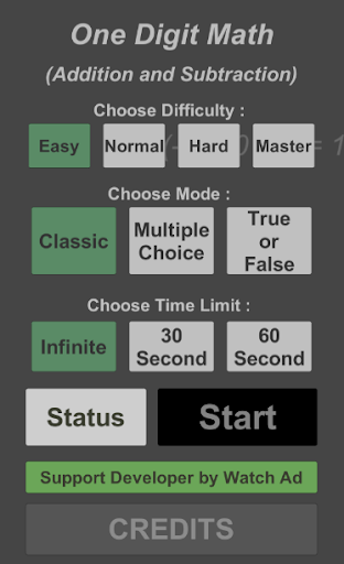 One Digit Math (Addition and Subtraction) android2mod screenshots 1