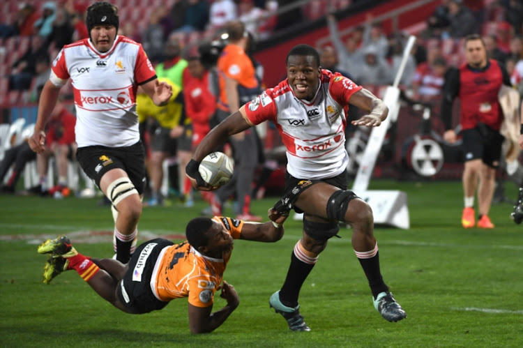 Hacjivah Dayimani of the Xerox Golden Lions during the Currie Cup match between Xerox Golden Lions and Toyota Free State Cheetahs at Emirates Airline Park on September 08, 2018 in Johannesburg, South Africa.