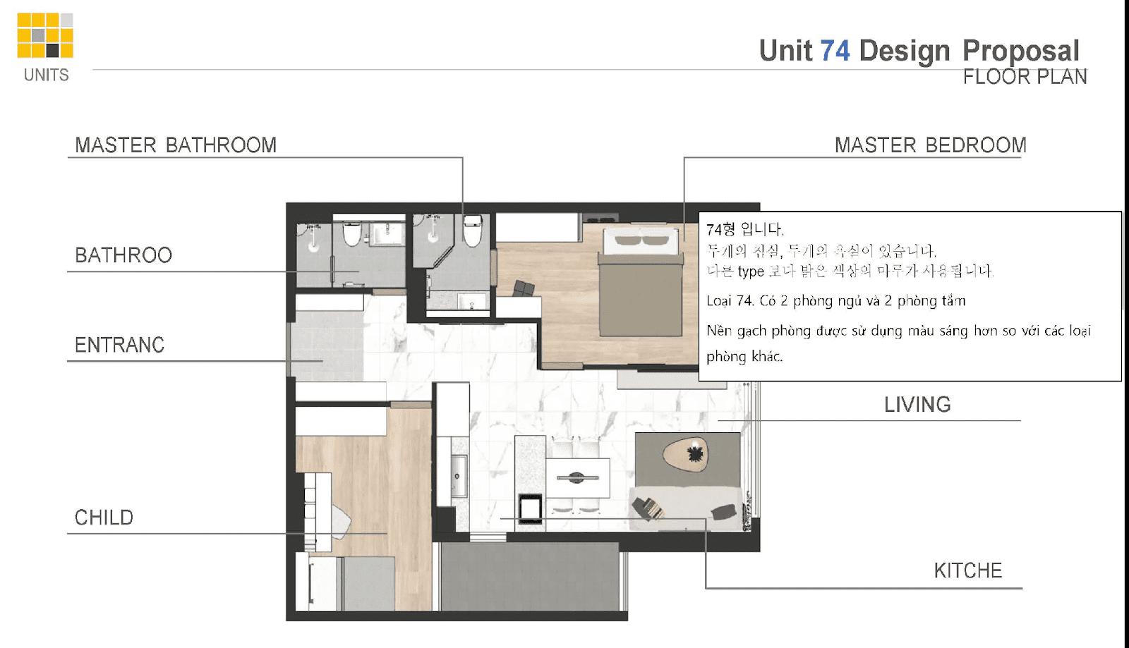 Mặt bằng thiết kế căn hộ 2PN