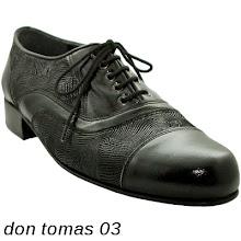 Photo: Cuir verni noir & cuir gravé vague noir - Talon droit. Chaussure tango homme.