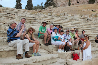 Photo: Here's our tour group at the Greek amphitheatre at the Acropolis.