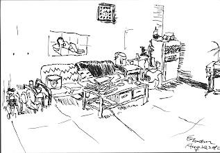 Photo: 宿舍客廳2010.08.20鋼筆畫 想想好快,在這裡生活不少年了