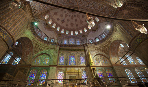 Inside-the-Blue-Mosque-3.jpg - One side of the interior of the  Blue Mosque, or Sultan Ahmed Mosque, in Istanbul.