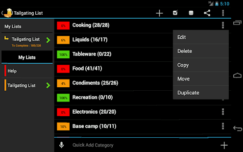 Tailgating Planner- screenshot thumbnail