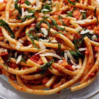Tomato and Smoked Salmon Pasta.