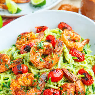 Creamy Avocado Zucchini Noodle Pasta with Taco Lime Grilled Shrimp.