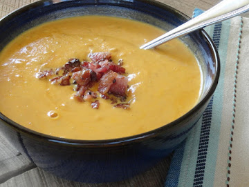 Halloween  Pumpkin Soup With Smoked Bacon Recipe
