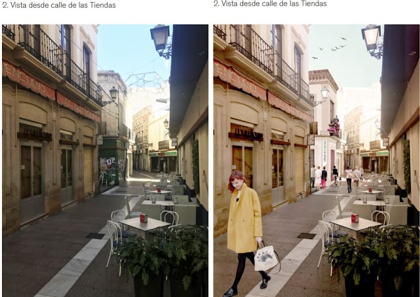 Vista actual y reformada desde Las Tiendas.