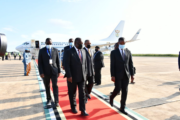 President Cyril Ramaphosa arrives in Maputo, Mozambique, for the Extraordinary Double Troika Summit on Thursday.