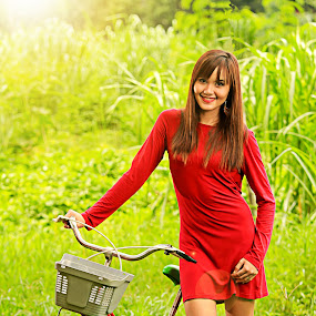 One Sunny Morning by Bong Flores - People Fashion ( bike, bicyle, sunny, girl with bike, red dress )