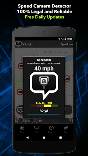 Radarbot Free: Speed Camera Detector & Speedometer Android App Screenshot
