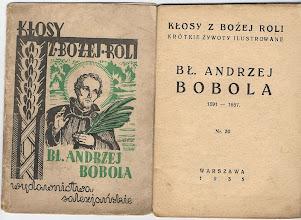 """Photo: """"Kłosy z Bożej Roli"""" Zawiera 12 ilustracji w tekście plus portret na okładce. Drzeworyty Ireny Dybowskiej, 1935 r."""