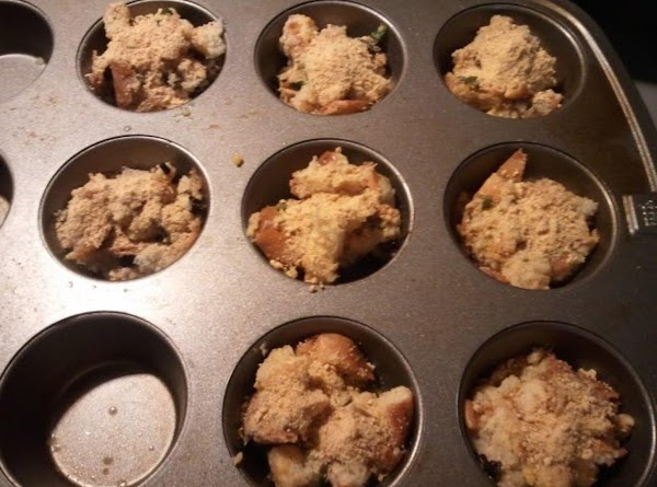 Spray muffin tin and stuff mixture in.  Sprinkle tops with graham cracker crumbs...