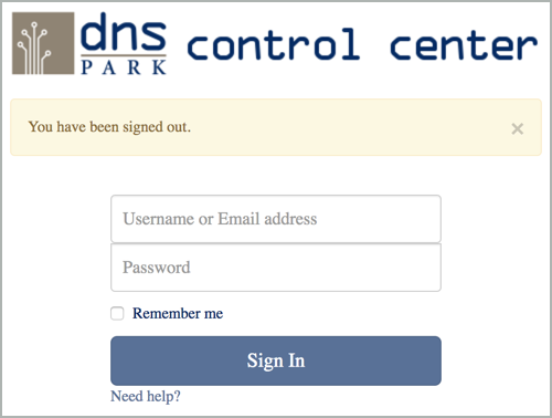 DNS Park Control Center Login Window