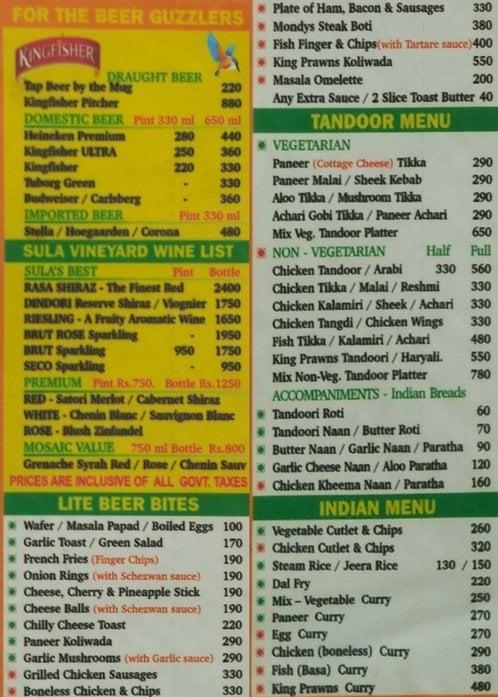 Cafe Mondegar menu 2