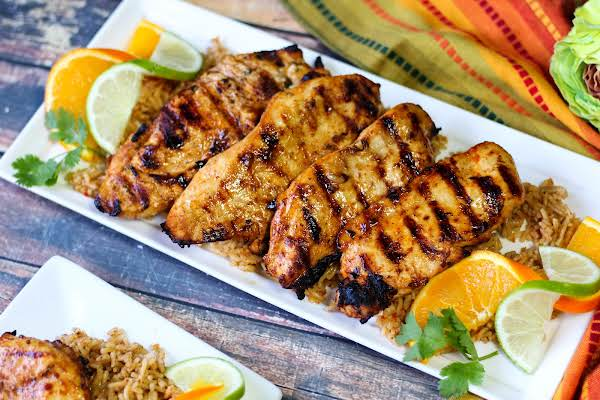 A Platter Of Grilled Mexican Citrus Chicken.