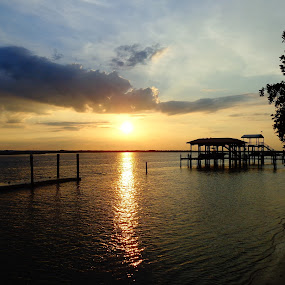 Southern Sunset by Vanessa Latrimurti - Landscapes Sunsets & Sunrises ( water, reflection, june, st. augustine, kids, dock, playing, silouette, sky, florida, summer, south, light )