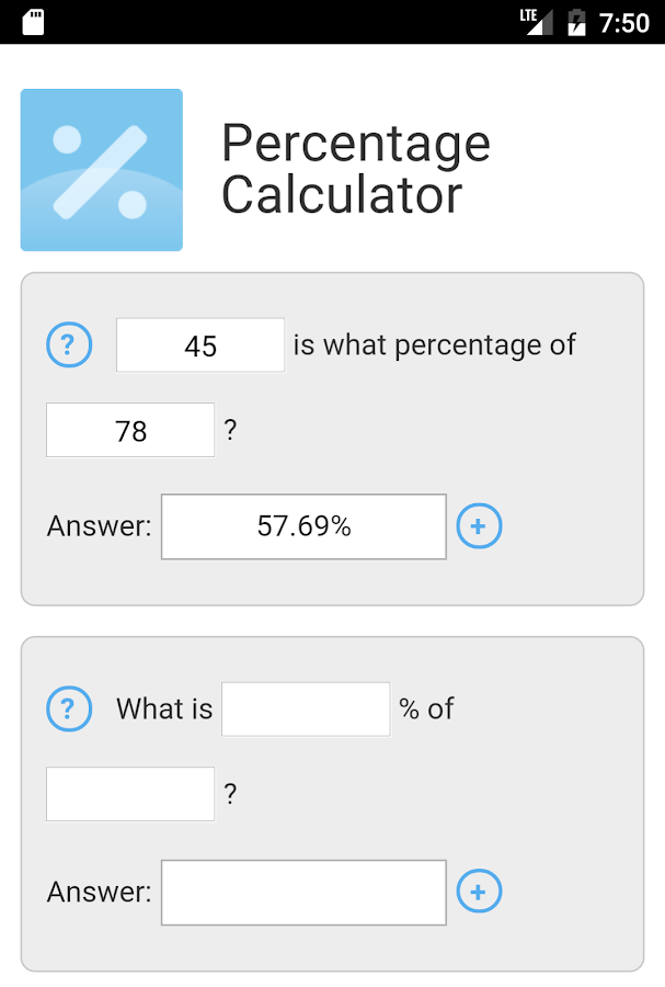 Percentage Calculator by MES- screenshot