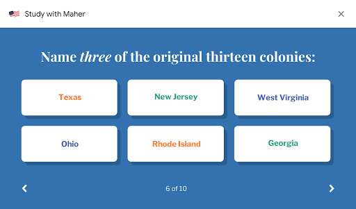 """Question screen example. Who is the """"Father of our Country?"""" with multiple choice answers."""