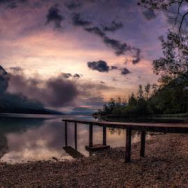 Morning At Ukanc by Jaro Miščevič - Landscapes Sunsets & Sunrises ( sky, mountain, reflections, tree, clouds, bridge, water, lake, landscape, morning )