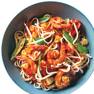 Sweet and Spicy Shrimp with Rice Noodles.